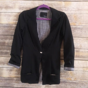 Rails Black gingham lined blazer jacket size XS